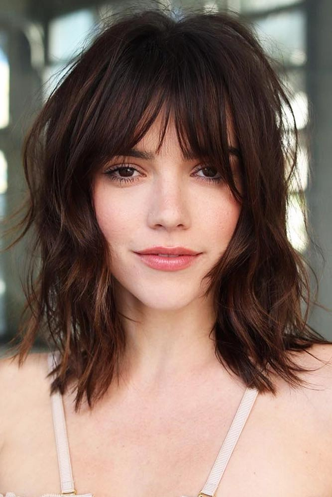 Shaggy Cut With Center Parted Layered Bang