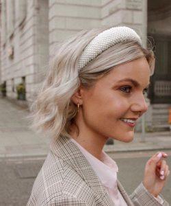 Vintage velvet headband with pearls