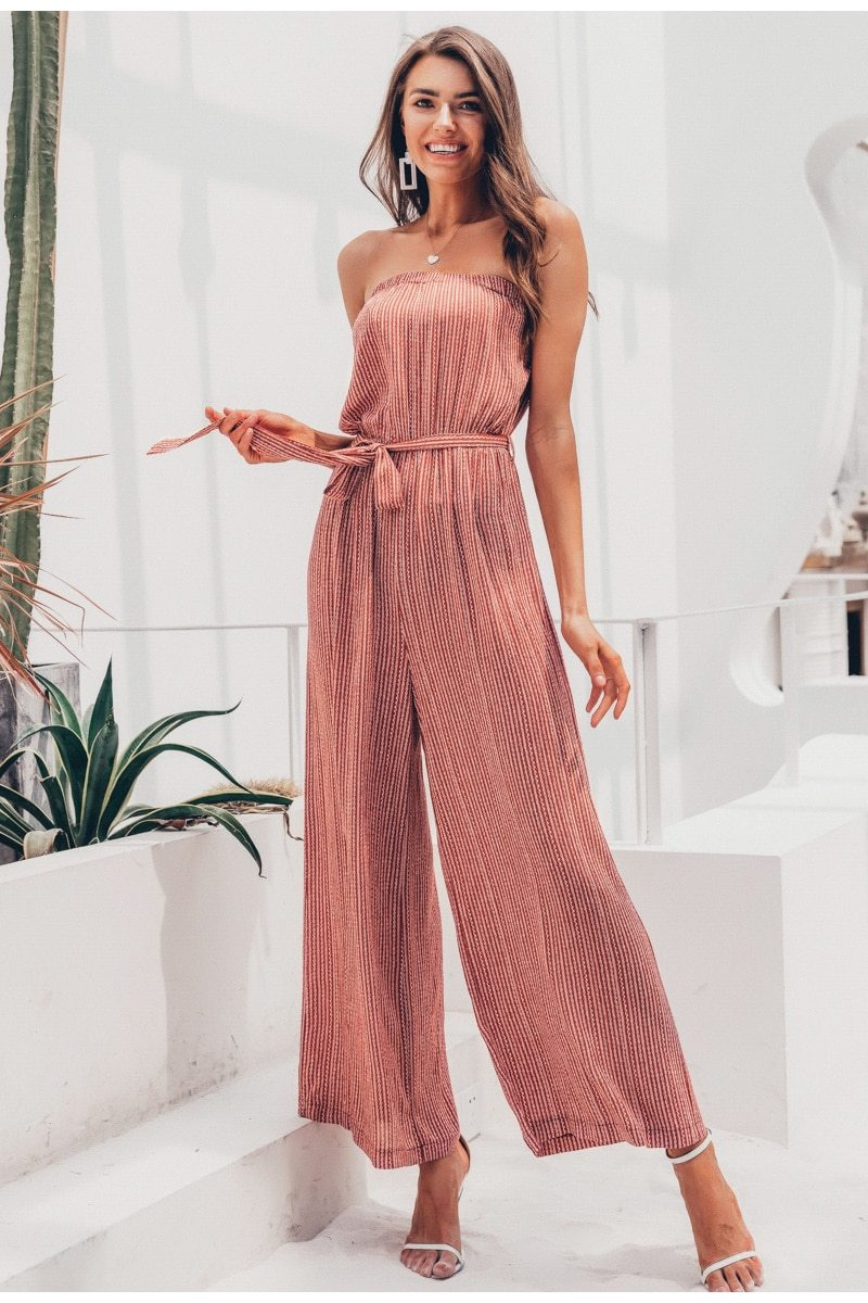 Floor Length Off Shoulder Sexy Sashes Jumpsuit for Women