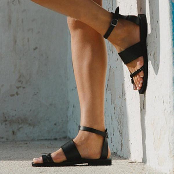 Plain Flat Peep Toe Casual Flat Sandals $31.39