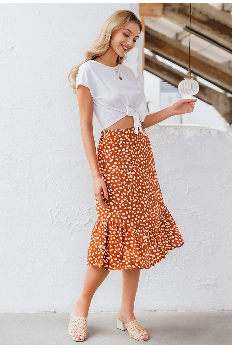 Women's Elegant A-Line Leopard Print Ruffles High Waist Midi Skirt