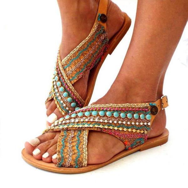 Women's bohemian Flat Peep Toe Date Travel Flat Sandals
