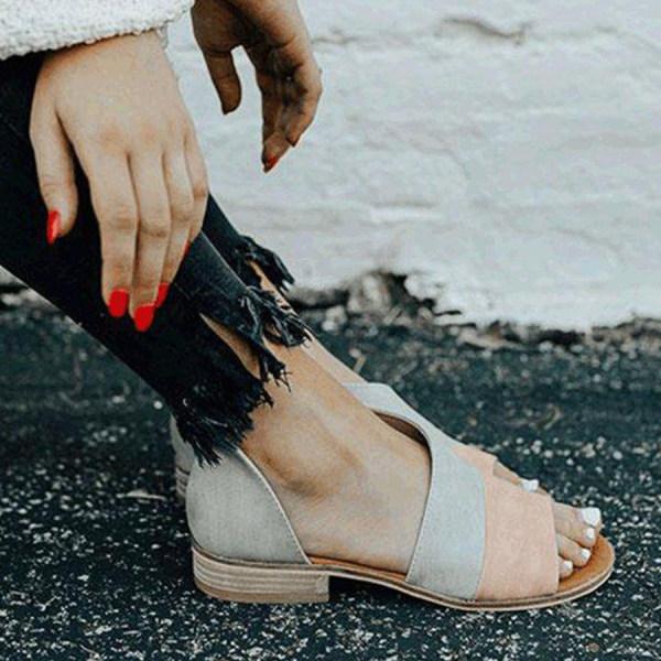 Women's flat Peep Toe Casual Flat Sandals