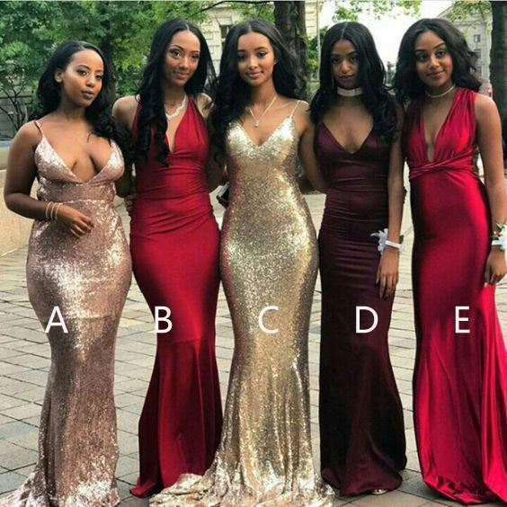 Affordable Mismatched Mermaid Long Bridesmaid Dresses