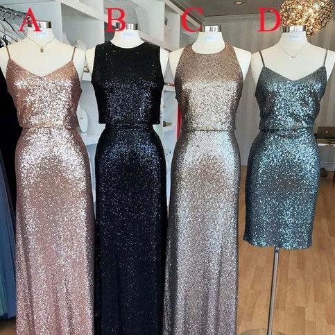 Affordable Mismatched Sequin Long Bridesmaid Dresses