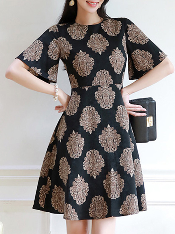 Antique Pattern Printed Flared Sleeve Skater Dress