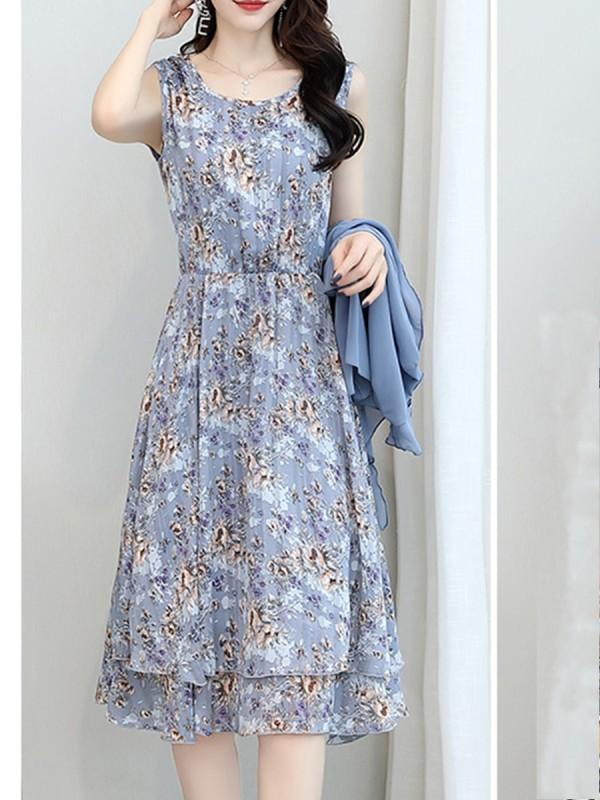 Chiffon Floral Chiffon Two-piece Maxi Dress