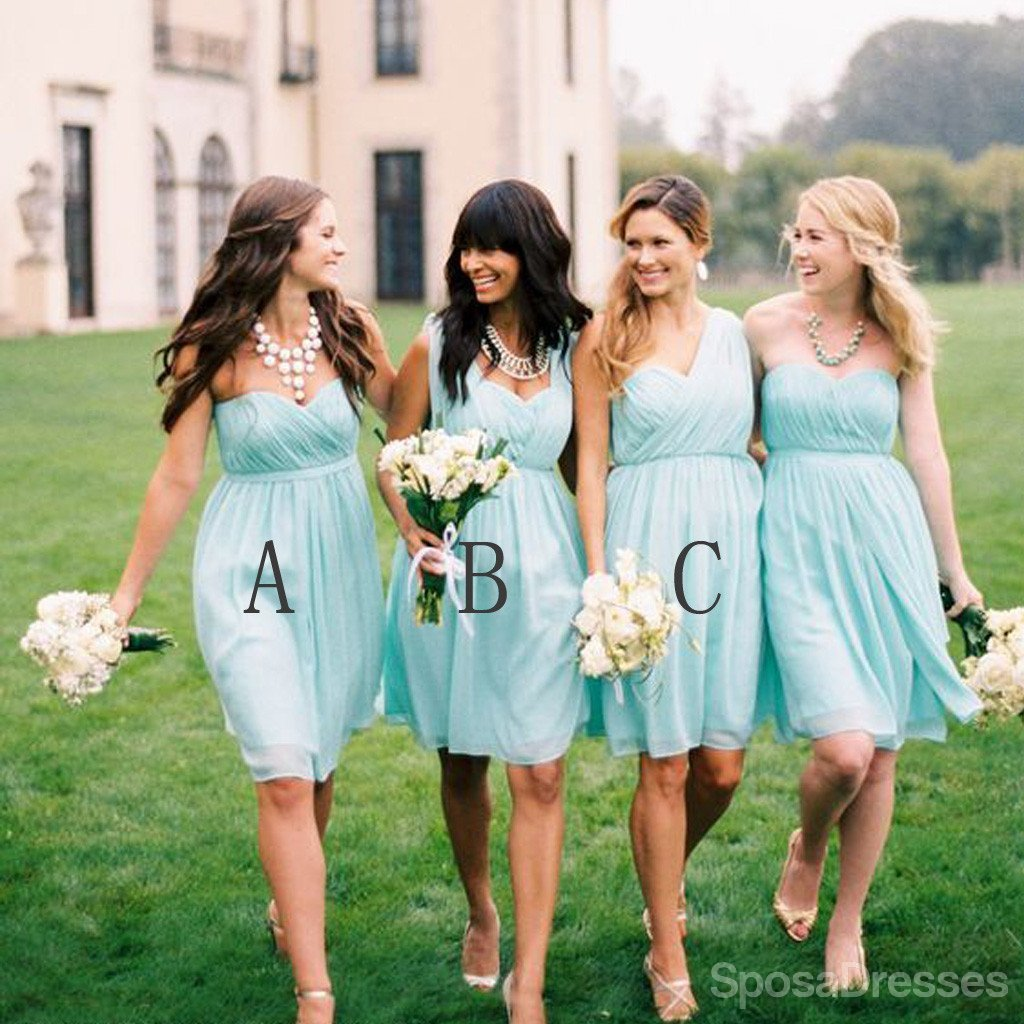 Chiffon Mismatched Simple Styles Junior Knee Length Blue Cheap Short Wedding Party Dresses