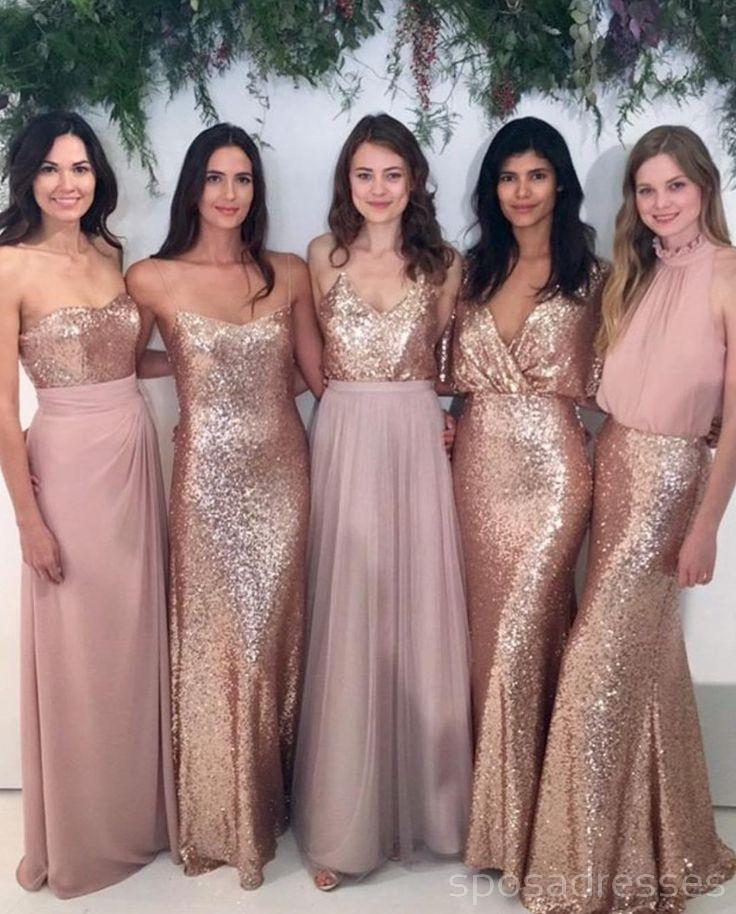Custom Sparkly Mismatched Sequin Long Bridesmaid Dresses