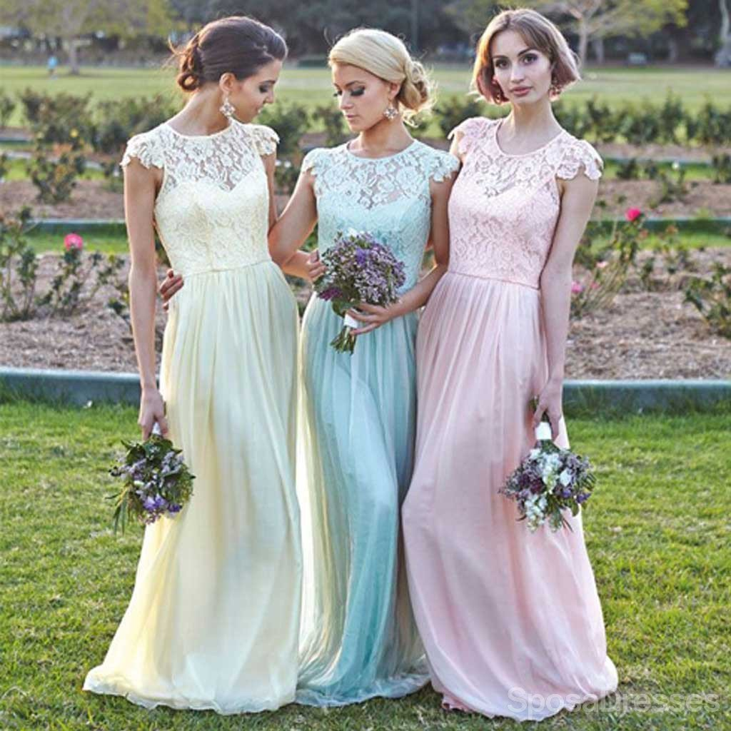 Different Colors Junior Pretty Cap Sleeve Small Round Neck Chiffon Top Lace Long Affordable Bridesmaid Dresses