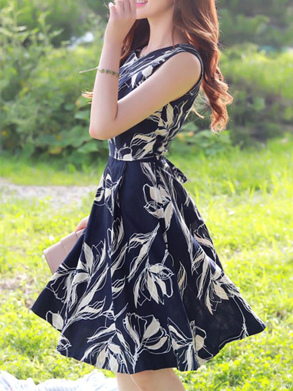 Floral Print Sleeveless Flared Linen Skater Dress