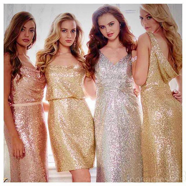 Gold Sparkly Mismatched Sequin Long Bridesmaid Dresses