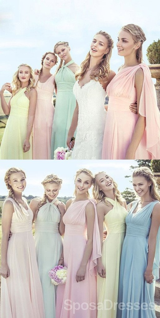 Junior Young Girls Simple Cheap Chiffon Convertible Mismatched Styles Different Colors Long Formal Bridesmaid Dresses for Wedding Party
