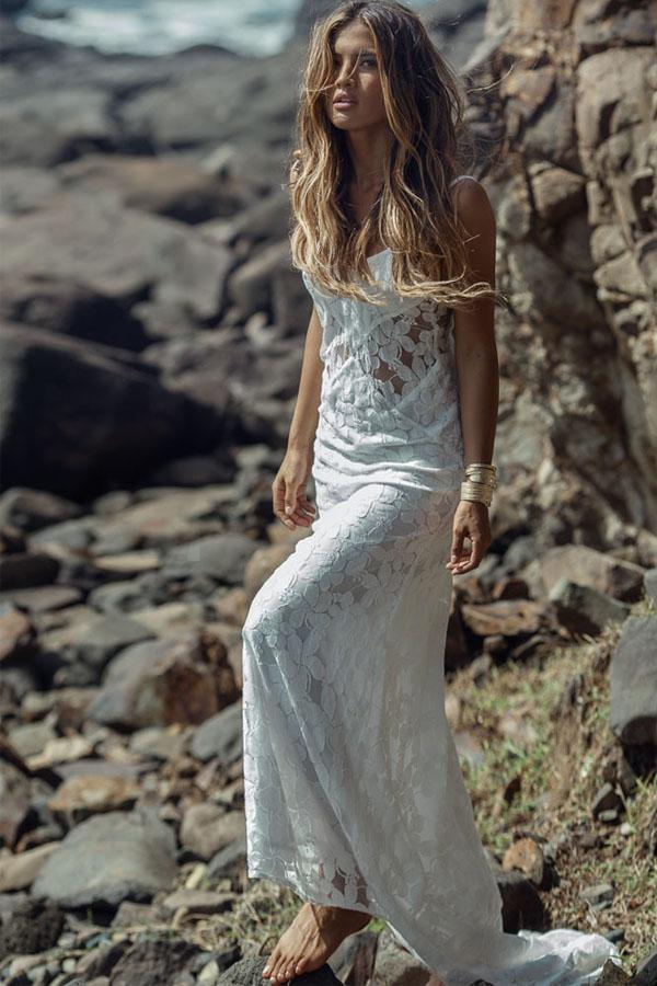 Lace Mermaid Beach Long Wedding Bridal