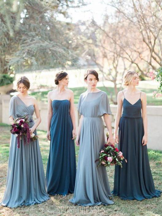 Mismached Chiffon Cheap Long Bridesmaid Dresses