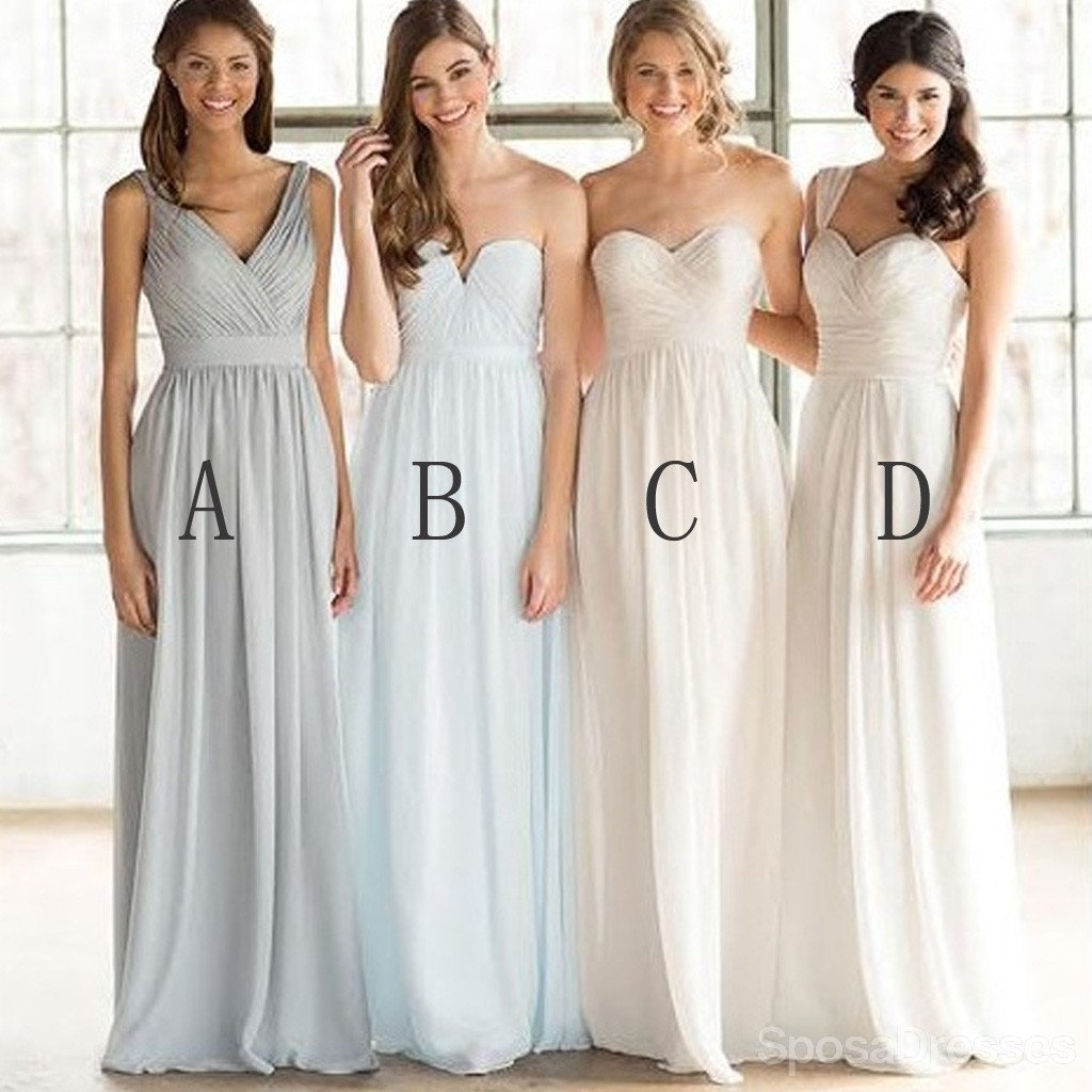 Mismatched Cheap Simple Formal Chiffon Floor-Length A Line Maxi Bridesmaid Dresses