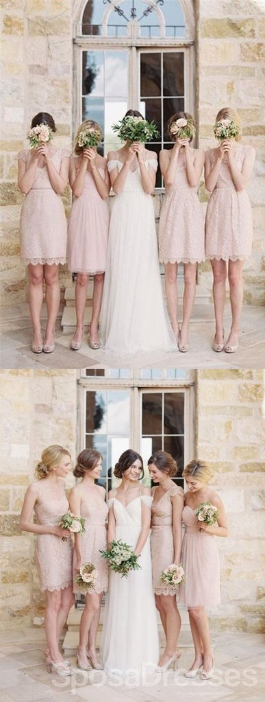 Mismatched Junior Pretty Short Lace Knee-Length Blush Pink Mini Custom Make Discount Bridesmaid Dress