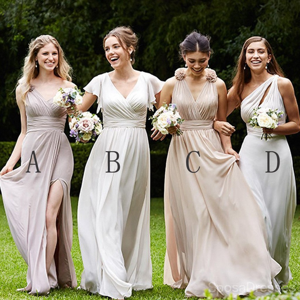 Mismatched Pretty Cheap Chiffon Side Split Floor-Length Formal High Quality Custom Make Bridesmaid Dresses
