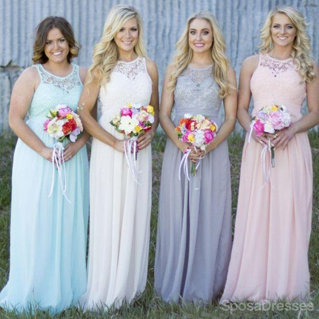 Off Shoulder Small Round Neck Top Lace Different Colors Chiffon Floor-Length Cheap Maxi Bridesmaid Dresses