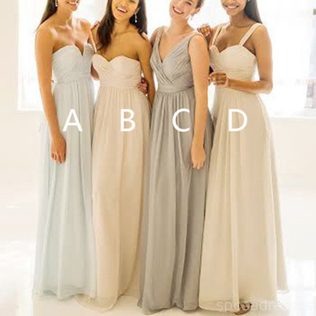 Popular Mismatched Simple Chiffon Floor-Length Custom Make High Quality Affordable Bridesmaid Dresses