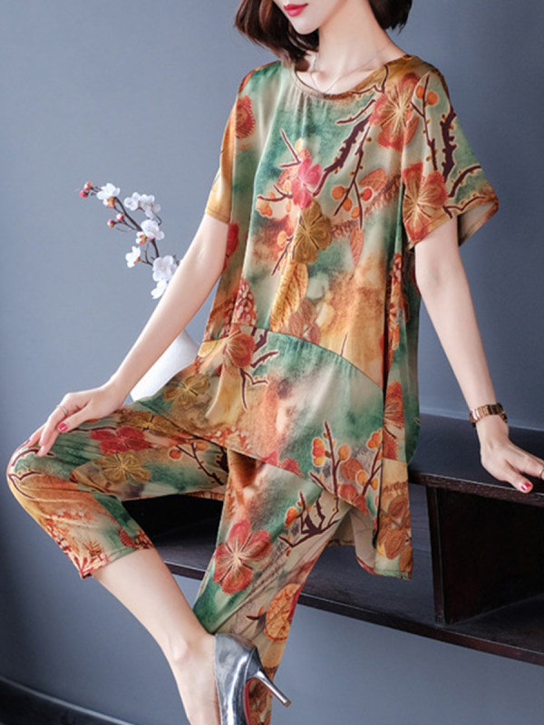 Round Neck Printed Short Sleeve Suit Blouse