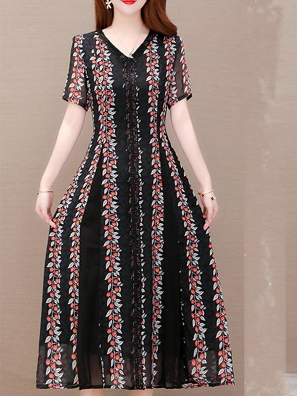 Short-sleeved Printed V-neck A-line Maxi Dress