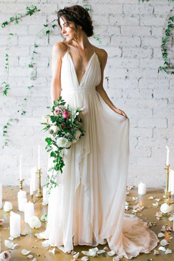 Simple Backless Beach Wedding Dresses