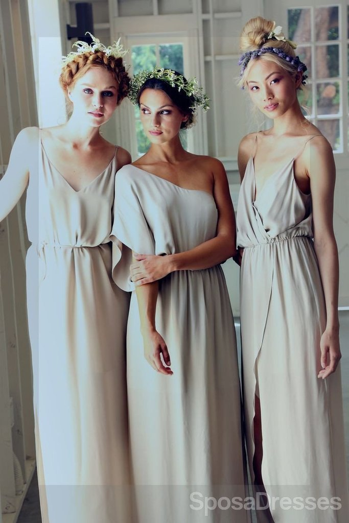 Simple Elegant Mismatched Different Styles Formal A Line Cheap Long Bridesmaid Dresses