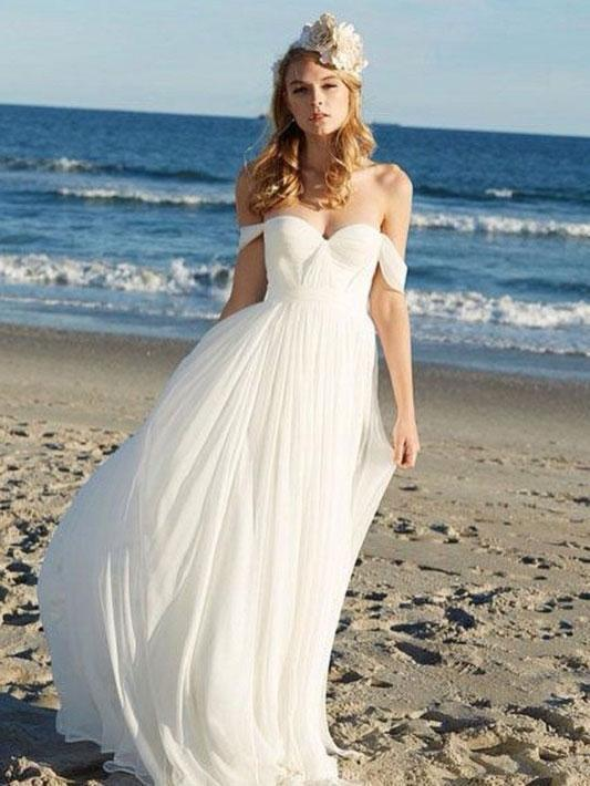 Simple Off Shoulder Beach Wedding Dresses
