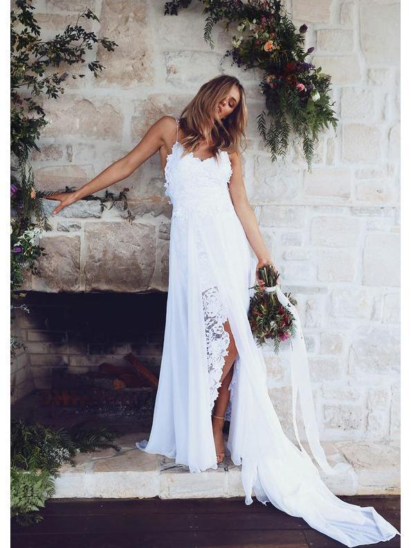 Spahgetti Straps V Neck Side Slit Simple Beach Wedding Dresses
