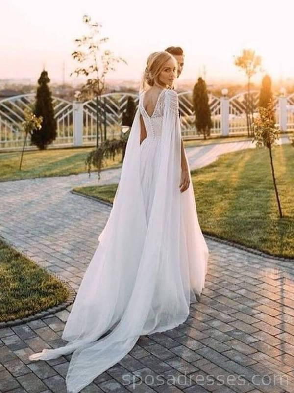 Unique Design beaded Beach Long Wedding Dresses