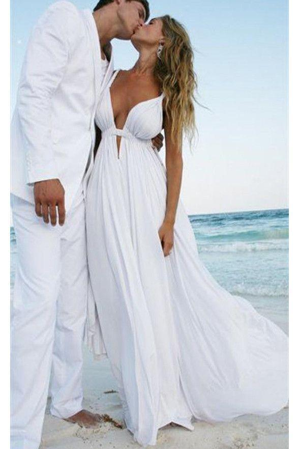 Unique Sexy Simple Casual Cheap White Beach Wedding Dresses