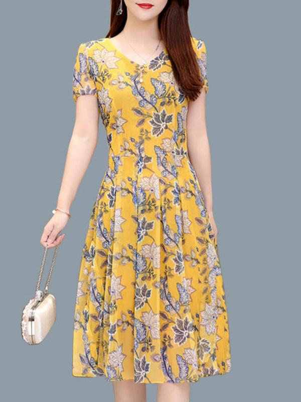 V-Neck Stylish Short Sleeve Printed Shift Dress