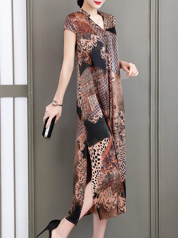 V-neck Printed Loose Plus Size Shift Dress