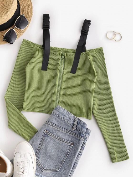 Buckled Zip Up Cold Shoulder Knitwear - Light Green