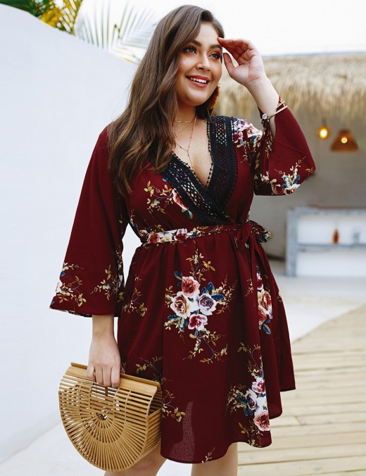 Dainty Wine Red Lace Patchwork Plus Size Dress Flower Pattern Women