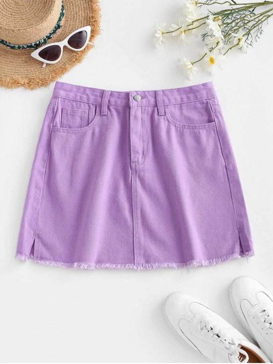 Denim Side Slit Frayed Hem Mini Skirt - Light Purple