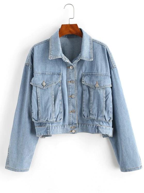 Drop Shoulder Pocket Buckle Embellished Denim Jacket - Blue