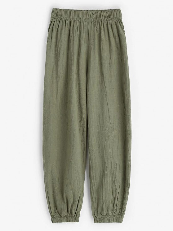 Elasticated Cuffs Pull On Pants - Green