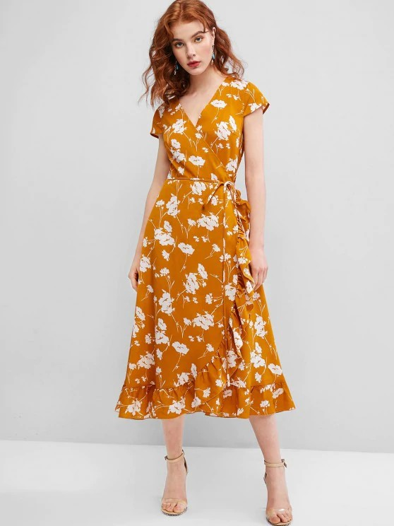Flower Ruffle Cap Sleeve Wrap Dress - Orange Gold