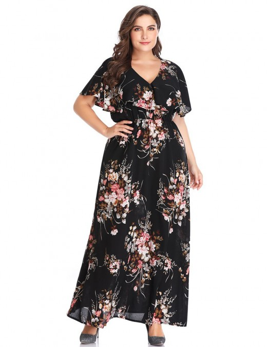 Graceful Black Big Size V Collar Dress Flower Printing Outfits