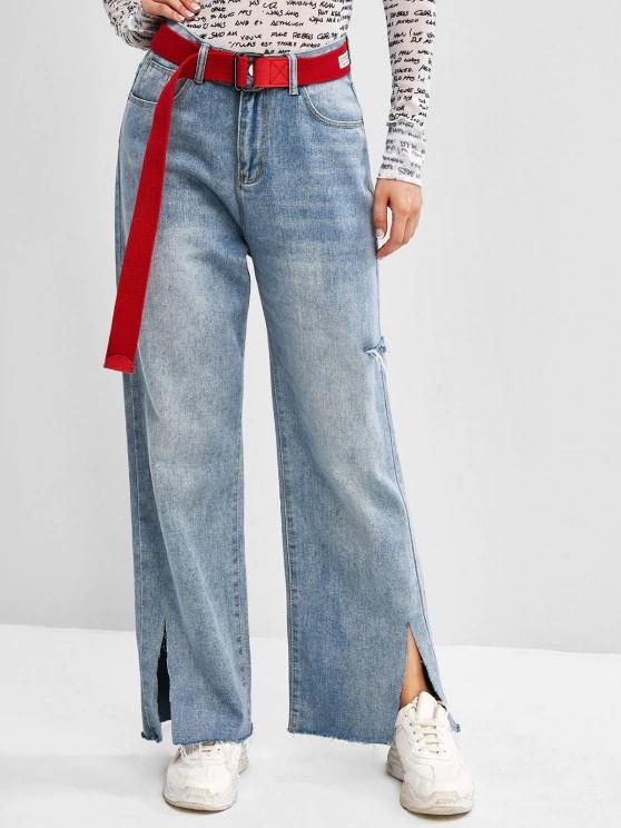 High Waisted Ripped Slit Straight Leg Jeans - Light Blue,jpg