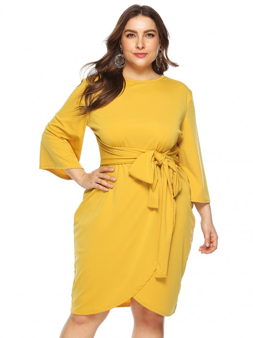 Irregular Yellow Queen Size Bell Sleeves Midi Dress Simplicity