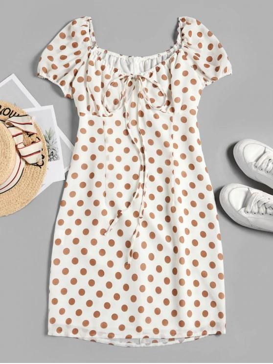 Tied Polka Dot A Line Dress - White