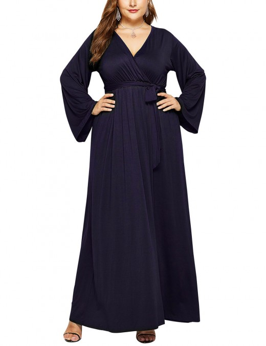 Vintage Dark Blue Ruched Waist Belt Plain Plus Size Dress Leisure