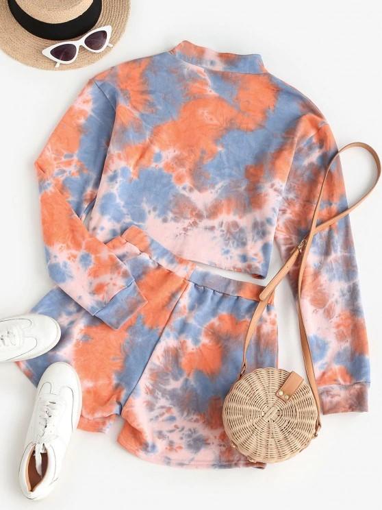ZAFUL Half Zip Tie Dye Two Piece Set - Dark Orange