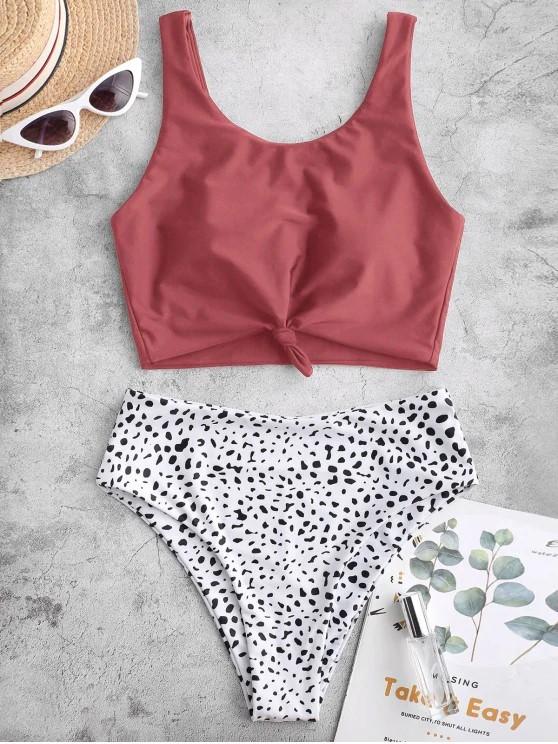 ZAFUL Knot Animal Print Tankini Swimsuit - Cherry Red M