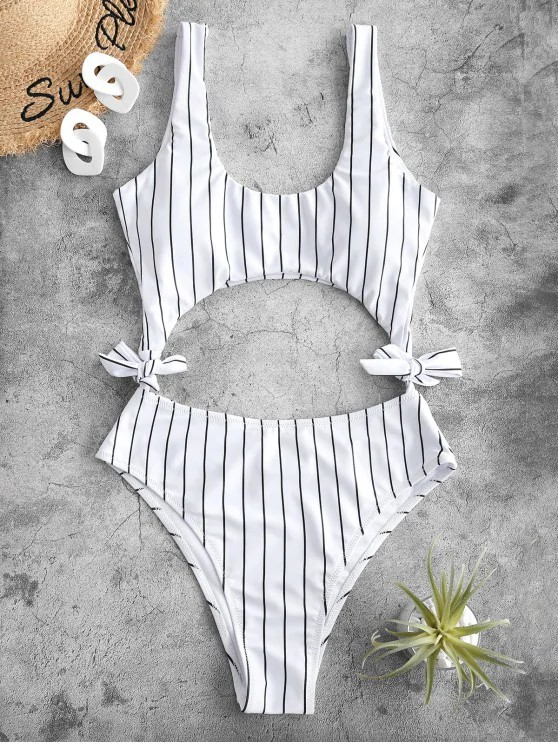 ZAFUL Striped Cutout Tie Side One-piece Swimsuit - White