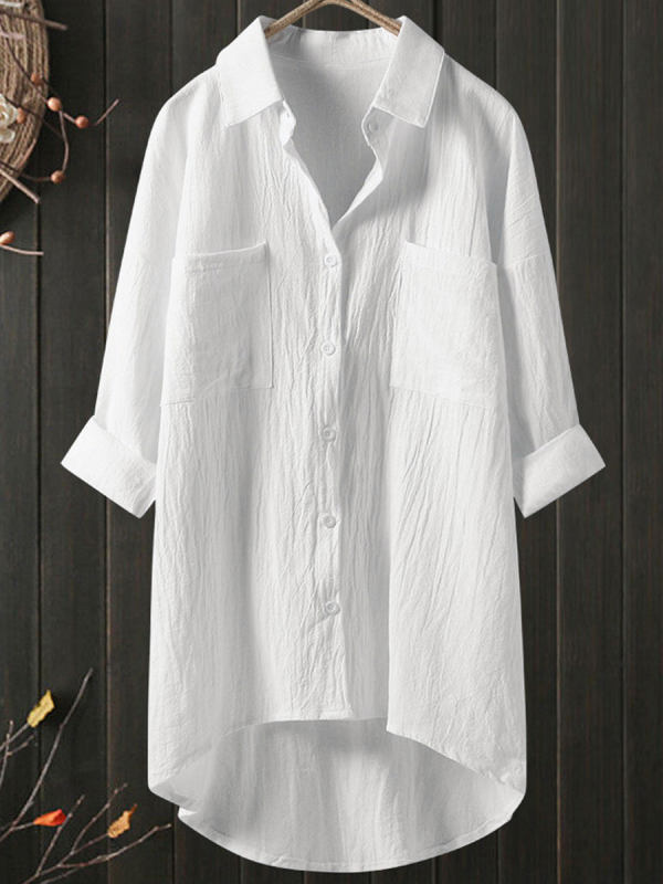 Casual Cotton And Linen Double Pocket Long Sleeve Blouse