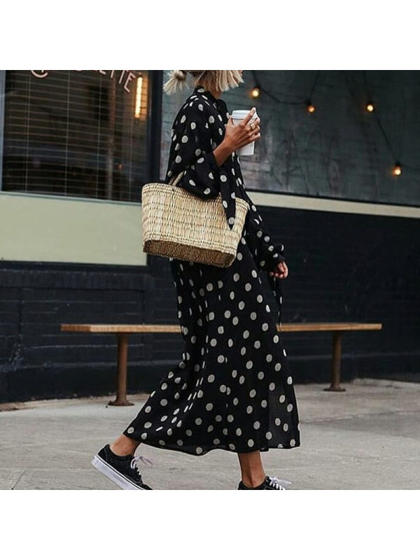 Casual Polka Dot Vacation Maxi Dress